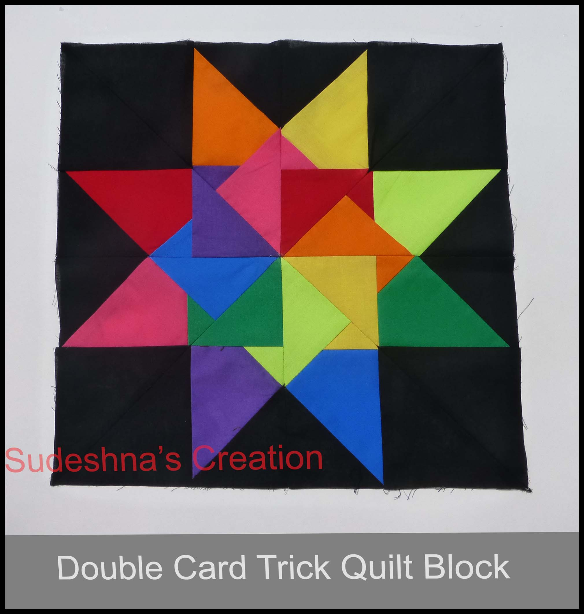 Quilting Pattern Card Trick Block : Double Card Trick Sudeshna s Creation